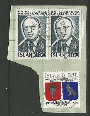 ICELAND 1978/79  THREE STAMPS  ON A PIECE, SCOTT  539 & 544, USED (o)