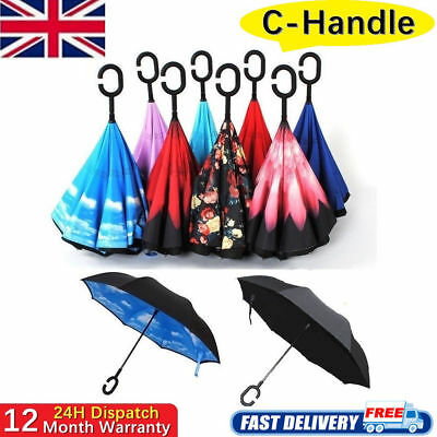 C-Handle Upside Down-Reverse Double Layer Umbrella Windproof Inside-Out Inverted
