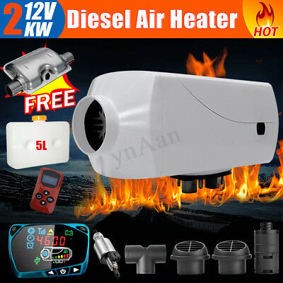 2KW 12V Diesel Air Heater Fuel Tank LCD Switch Remote For Truck Boat Car Trailer