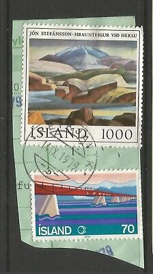 ICELAND 1979  TWO STAMPS  ON A PIECE, SCOTT  535 & 536,USED (o)