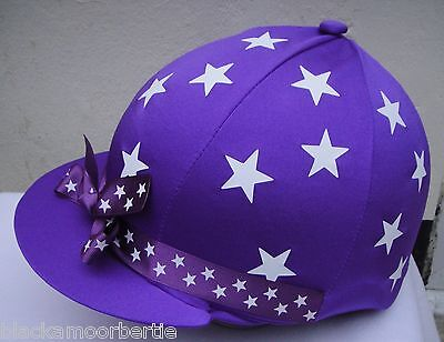 RIDING Hat Silk Skull cap Cover PURPLE * WHITE STARS & RIBBON With OR w/o Pompom