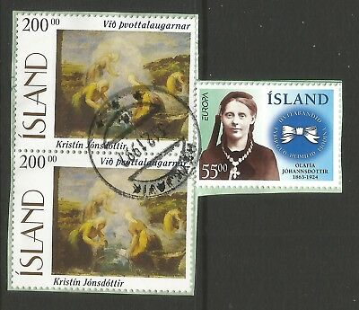 ICELAND 1996  THREE STAMPS  ON A PIECE, SCOTT  844 & 846,USED (o)