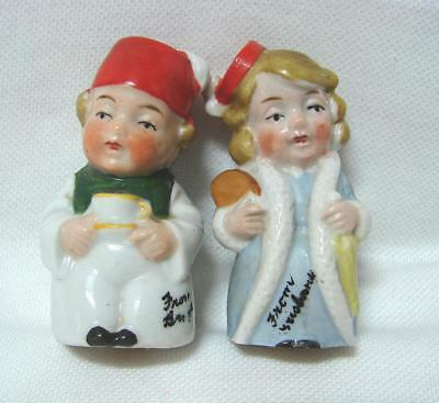 Vintage Deco Souvenir BRISBANE Salt and pepper Boy Girl with Fez Made in Germany