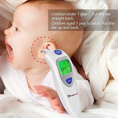2 in 1 LCD Digital Forehead and Ear Thermometer IR Infrared Baby Adult Objects