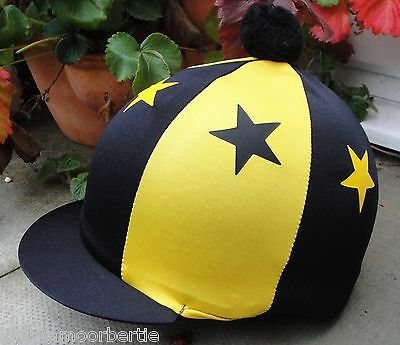 Lycra Riding Hat Silk Skull cap Cover BLACK & YELLOW STARS With OR w/o Pompom
