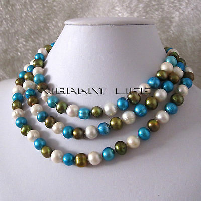"48"" 8-10mm White Blue Olive Freshwater Pearl Necklace AC"