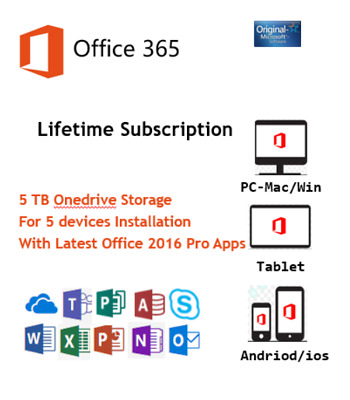 Microsoft Office 2016 Pro Office 365 Account 32/64 Bits For 5 User 5 TB Onedrive