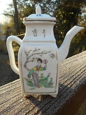 Small Antique Chinese Porcelain Teapot Decorated W/ Painted Scenes & Calligraphy