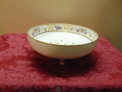 Hand Painted Nippon Bowl With beautiful floral print detailed gold trim HOLES ?