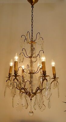 Beautiful Antique 6 Lights French Chandelier Brass Rare Crystal Old Lustre