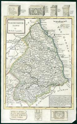 1733 - Rare Antique Map of NORTHUMBERLAND by Herman Moll Hand Coloured (43)