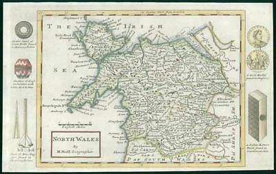 1733 - Rare Original Antique Map of NORTH WALES by Herman Moll Hand Colour (28)
