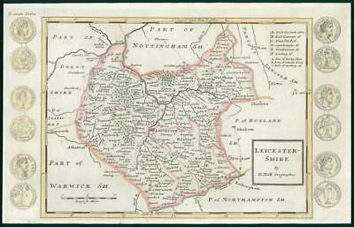 1733 - Rare Antique Map of LEICESTERSHIRE by Herman Moll hand coloured (10)