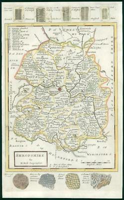 1733 - Rare Antique Map of SHROPSHIRE by Herman Moll Hand Coloured (40)