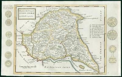 1733 - Rare Antique Map of YORKSHIRE EAST RIDING Herman Moll hand coloured (25)