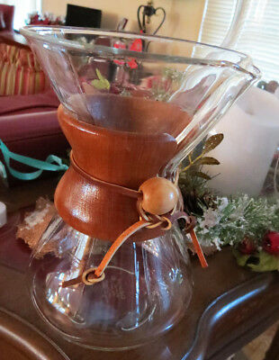 "Vintage Chemex ®  Pyrex Glass Coffee Pot 8"" Green Patent Number Wood Collar"