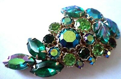 "*rare* Vintage Estate Signed Weiss Ab Rhinestone Flower 2 1/4"" Brooch!!! G299S"