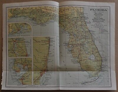 1930 National Geographic Map of FLORIDA, from January 1930