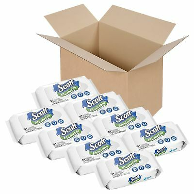 Scott Flushable Wipes, Fragrance-Free, 8 Soft Packs with 408 Wet Wipes Total