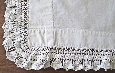 "antique pillow layover white linen 45x30.5"" + 2"" crochet trim 3 sides, bell patt"