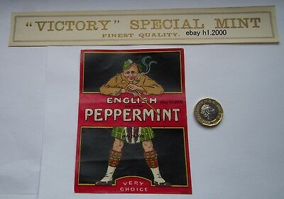 Very  Rare Antique  Sweet Jar Label Set Victory English Peppermint