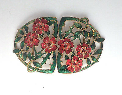 Art Nouveau Enamel Flowers Dress Buckle