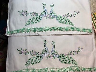 2 Vintage PRETTY Hand Embroidered Peacocks Pair Pillowcases Cotton NICE