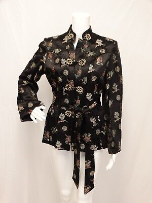 Vtg Black Satin Oriental KIMONO Lounge JACKET Embroidered Belted Hong Kong Small