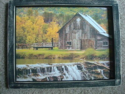 "Primitive Country Print ~BARN with WATERFALL~  black frame  9 1/4 "" x 11 3/4"""