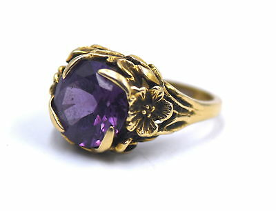 Antique Art Nouveau Amethyst Floral Ring Figural 14K Gold Sz 7.5 Signed Strell