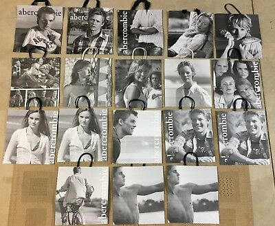 (Lot of 18) Vintage ABERCROMBIE Shopping BAGS w/ Male & Female model photography