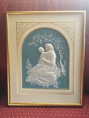 Franklin Mint Parian Porcelain Madonna Of The Grotto Bisque Plaque Framed