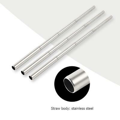 5pcs Reusable Stainless Steel Metal Folding Drinking Straw Portable Collapsible