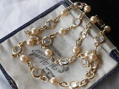 Dazzling Vintage 1970s Pearl & Bezel SET Crystal Necklace
