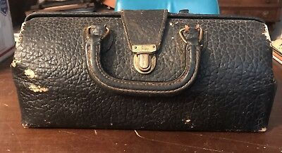 Antique Lilly Black Leather Physician Doctor's  Medical Bag