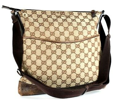 08c60363c19d Auth GUCCI GG Beige Canvas & Brown Leather Crossbody Shoulder Bag Purse  Italy
