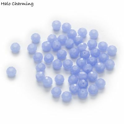 50 Piece Light Blue Crystal Glass Faceted Beads Spacer Jewelry Findings 4-8mm