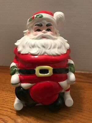 VTG Lefton Santa Cookie Jar Christmas Rocking Chair Japan Made Candy Cane