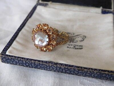 Dazzling Vintage 1950s Caramel Crystal & Blue Glass Cabochon Dress Ring
