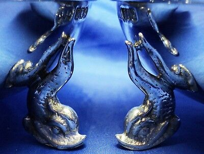 SUPERB PAIR SOLID SILVER GILT DOLPHIN LEG SALTS BY JOHN J COOKE DUBLIN 2001~ 97g