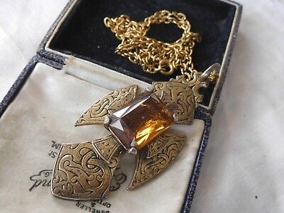 Stunning HUGE Vintage 1960s Toffee Crystal Scottish Necklace signed MIRACLE