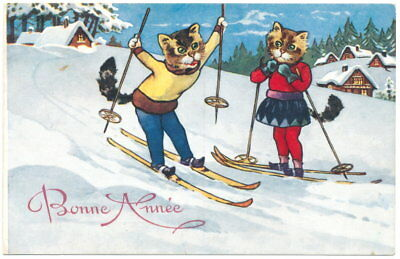 New Year - Skiing Dressed Cats
