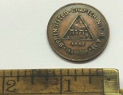 1841 ONE PENNY HTWSSTKS SPRINGFIELD CHAPTER No. 1 R.A.M. ROYAL ARCH MASON IL.