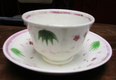 Circa 1800 Purple Lusterware Handleless Cup & Saucer, Hand Painted Violets
