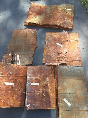 Antique Vintage Tin Ceiling Salvage Art Reclaimed Art Deco Tiles AS IS