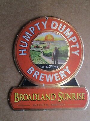 Humpty Dumpty Brewery Broadland Sunrise Reedham Norfolk Beer Pump Clip
