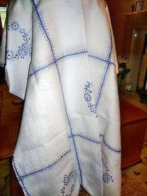 Fresh As A Daisy Large Hand Embroidered Vintage Tablecloth In Blue And White