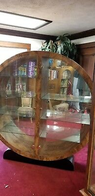 1980's Art Deco Burled Walnut Formica Round Wall Curio China Cabinet