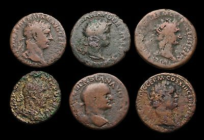 ROMAN IMPERIAL, Lot of 6 Large Bronzes, AE As, including Nero