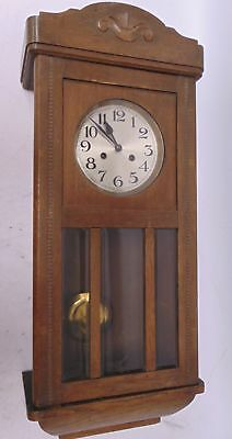 Large Antique Wooden WALL CLOCK Pendulum Chimes Wind-Up Function With Key - L35